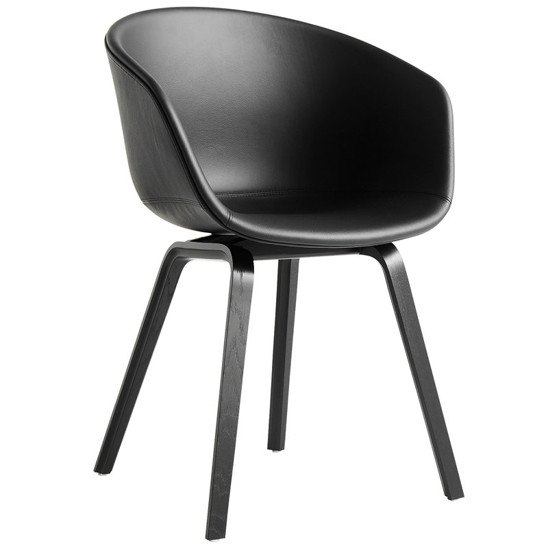 Hay About A Chair AAC23, black stained oak - black leather