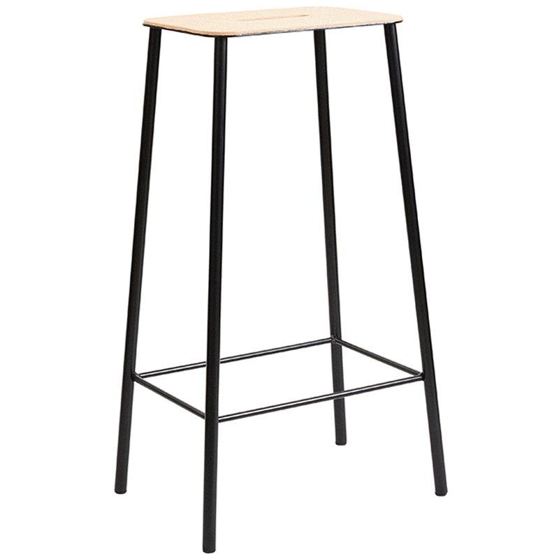 Frama Adam stool, 76 cm, leather - matt black