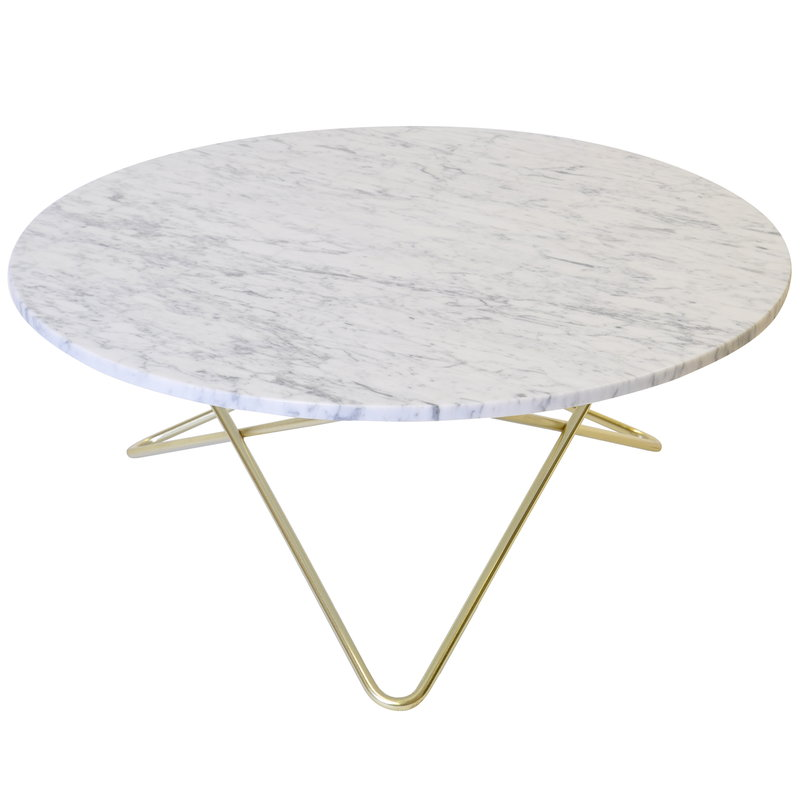 OX Denmarq O table, brass - white marble