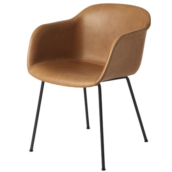 Muuto Fiber tuoli käsinojilla, putkijalat, konjakki - musta