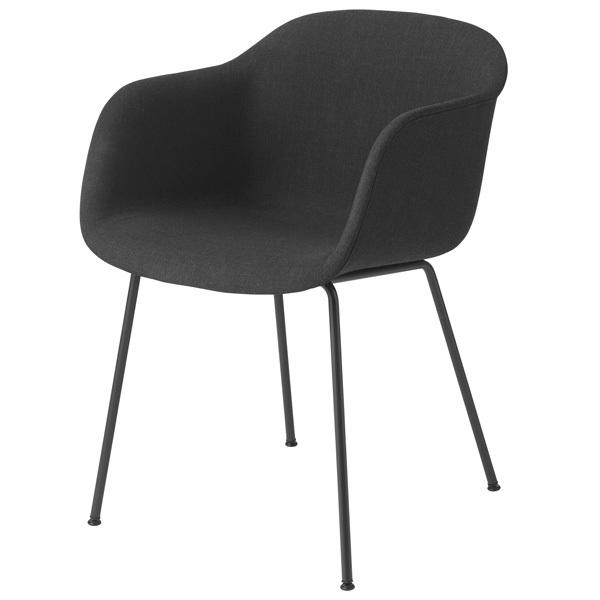 Muuto Fiber tuoli käsinojilla, putkijalat, Remix 183 - musta
