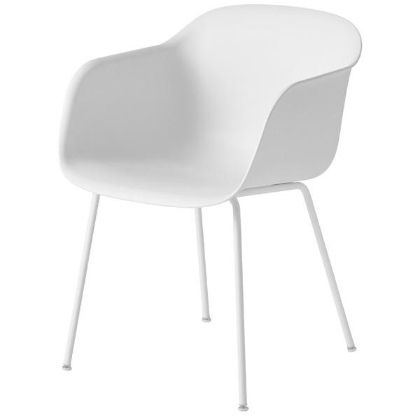 Muuto Fiber tuoli käsinojilla, putkijalat, valkoinen