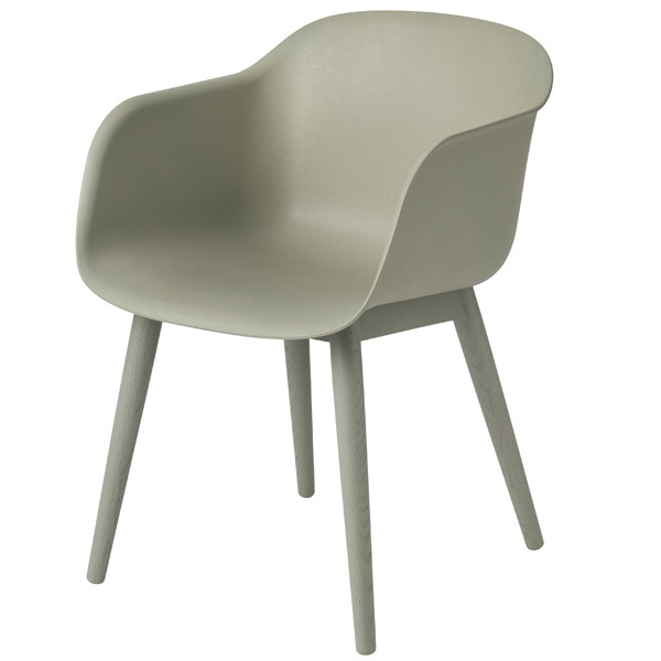 Muuto Fiber tuoli käsinojilla, puujalat, vihreä