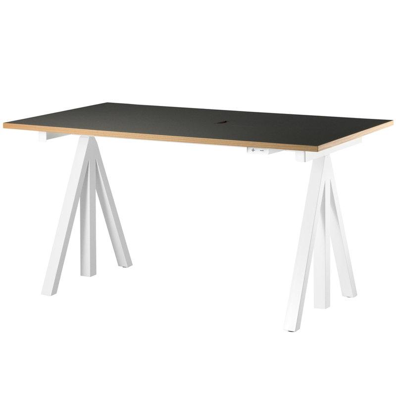 String Furniture String Works height adjustable work desk, 140 cm, charcoal