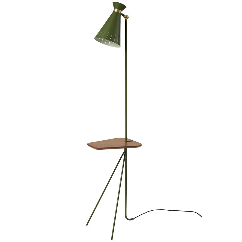 Warm Nordic Cone floor lamp with table, pine green
