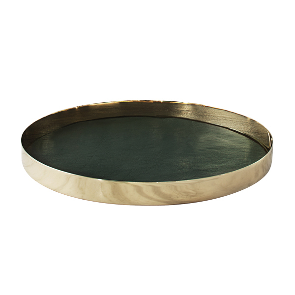 Skultuna Karui tray, dark green leather
