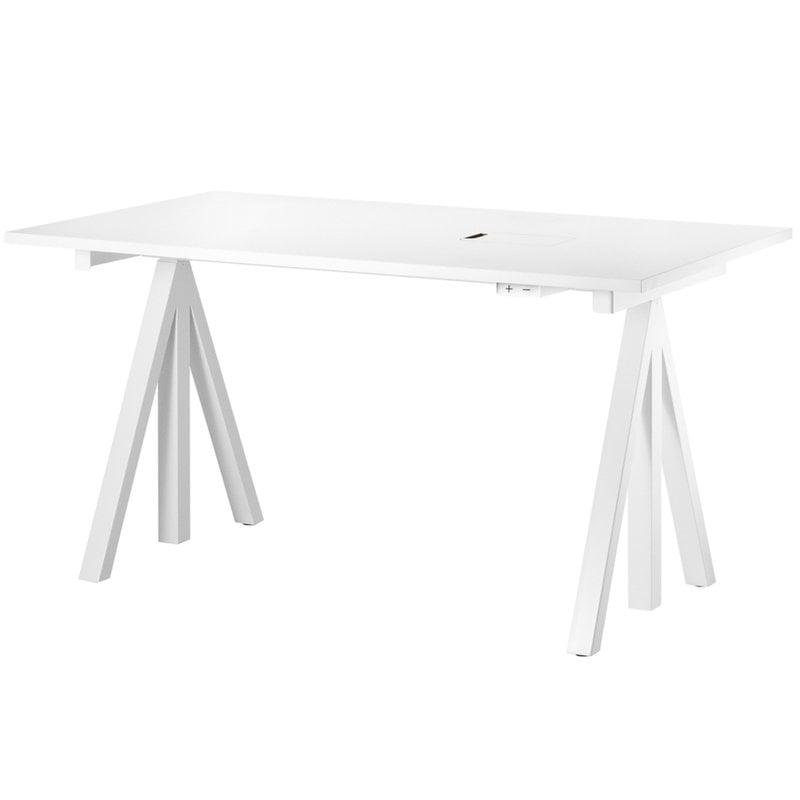 String Furniture String Works korkeussäädettävä pöytä 140 cm, valkoinen
