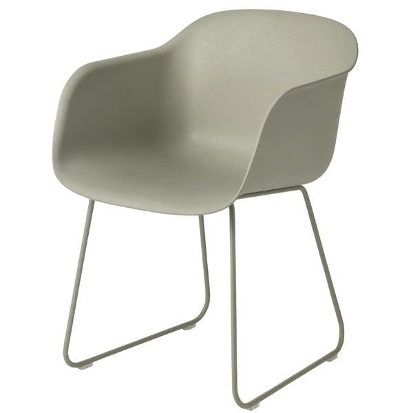 Muuto Fiber tuoli käsinojilla, kelkkajalka, vihreä