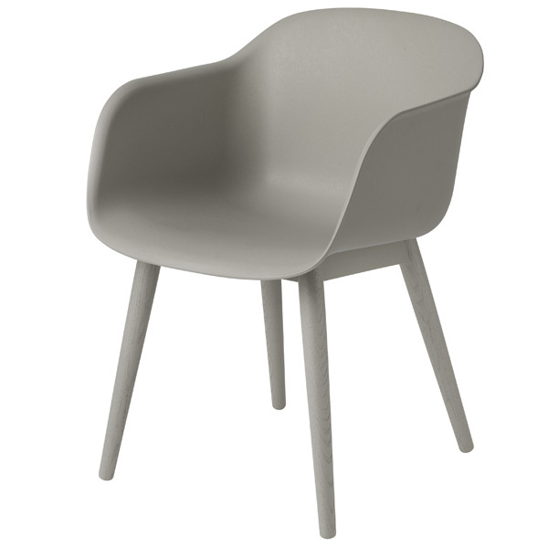 Muuto Fiber armchair, wood base, grey