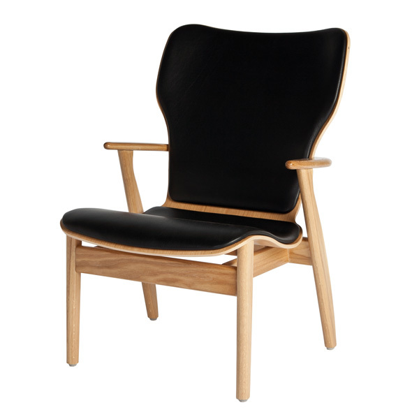 Artek Domus lounge chair, lacquered oak - black leather