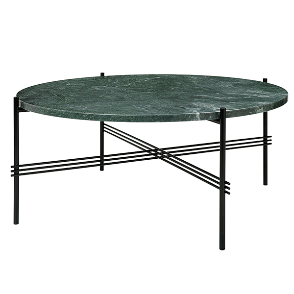 Gubi TS coffee table, 80 cm, black - green marble