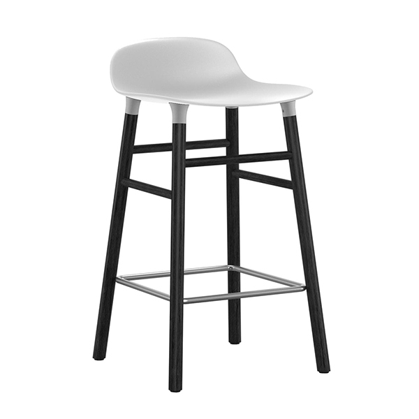 Normann Copenhagen Form barstool 65 cm, white - black oak