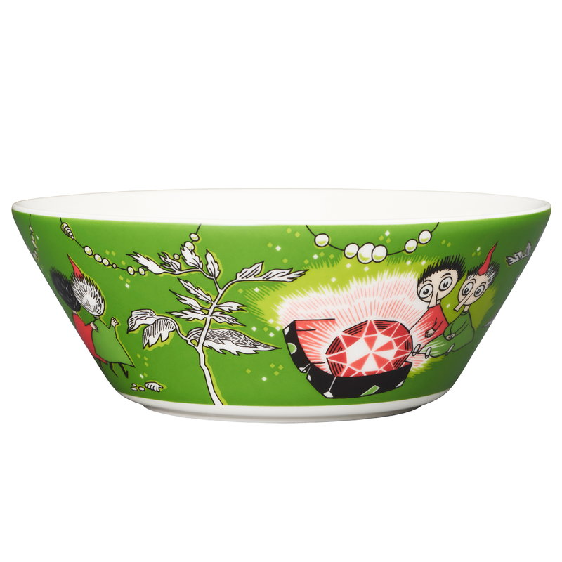 Arabia Moomin bowl, Thingumy and Bob, green