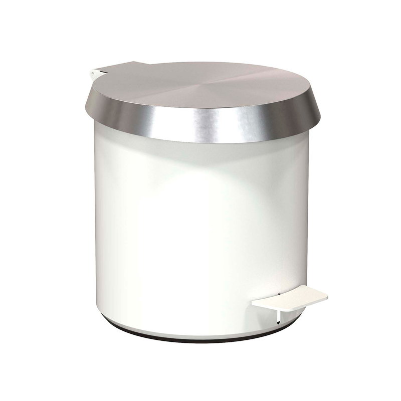 Frost Pedal Bin 250, brushed steel - white