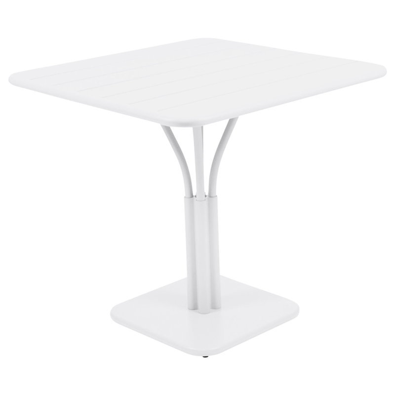 Fermob Luxembourg table, 80 x 80 cm, cotton white, with pedestal