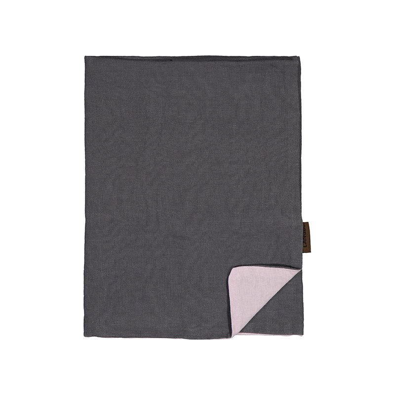 Langø Federa, lino, grigio scuro-rosa
