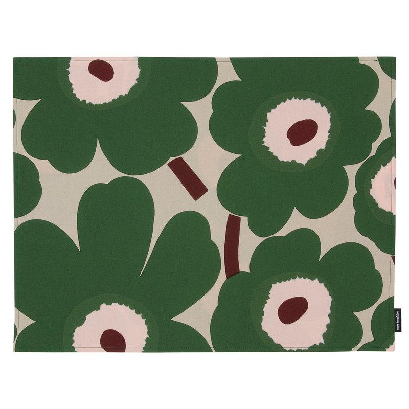 Marimekko Pieni Unikko coated cotton placemat,  beige - green - peach