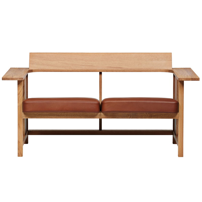 Mattiazzi Clerici 2-seater bench, oak - light brown leather