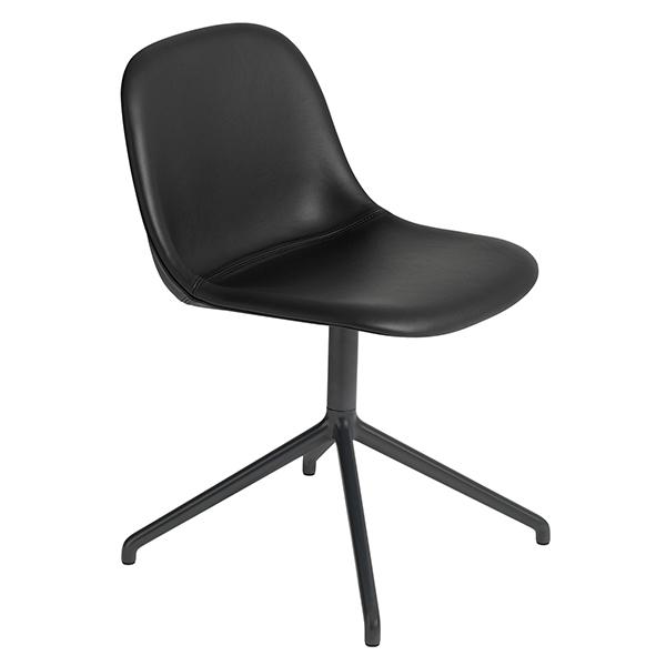 Muuto Fiber side chair, swivel base, black leather