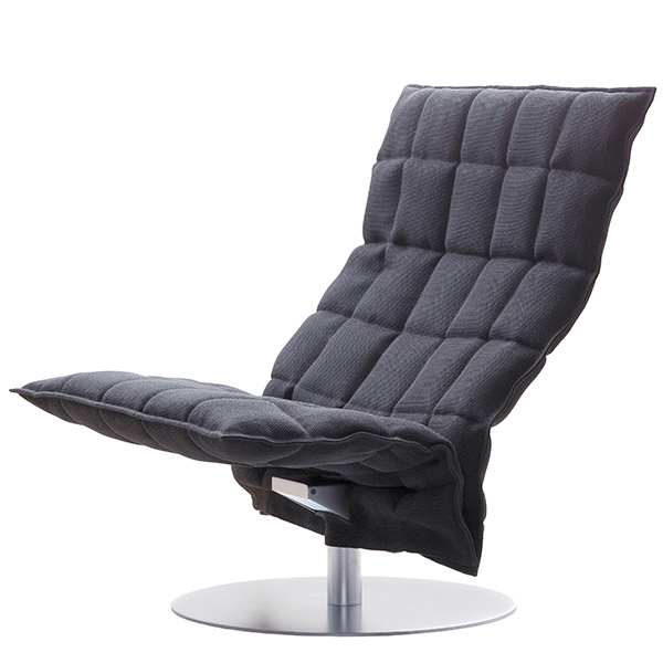 Woodnotes K chair, swivel base, wide, graphite