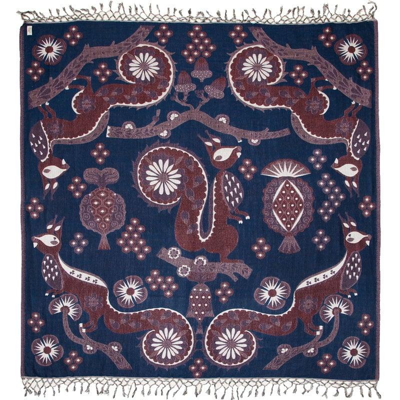 Klaus Haapaniemi Squirrel peitto, 150 x 150 cm, sininen
