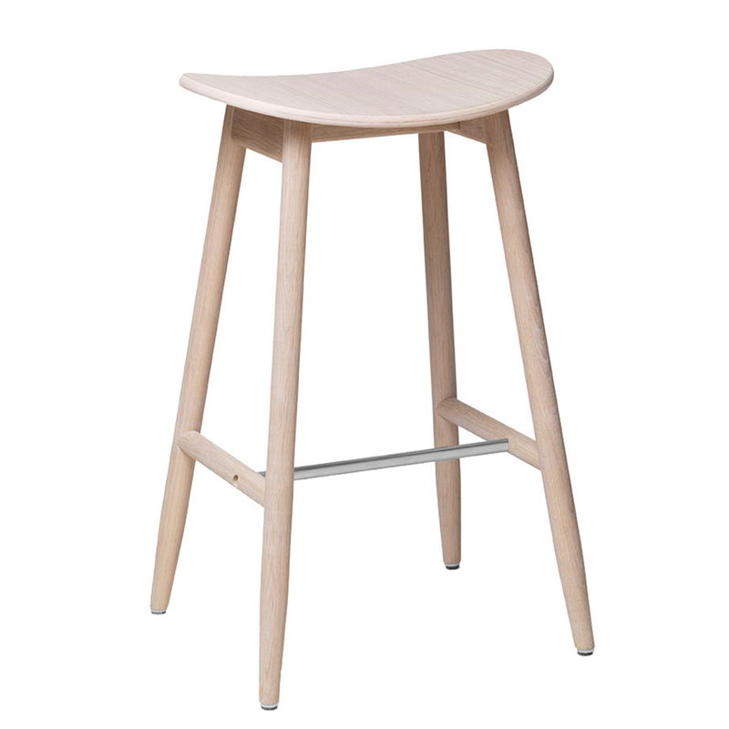 Massproductions Icha bar stool, 65 cm, white oiled oak