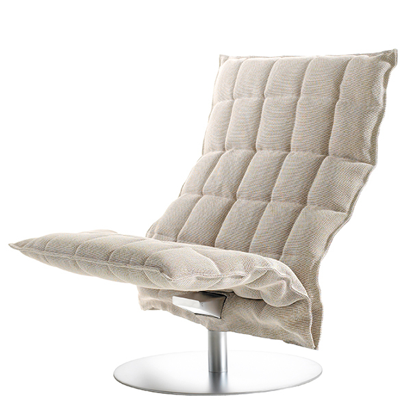 Woodnotes K chair, swivel base, wide, stone/white
