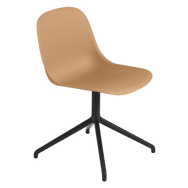 Muuto Fiber side chair, swivel base, ochre - black