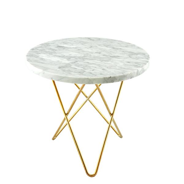 OX Denmarq Mini O table, brass - white Carrara