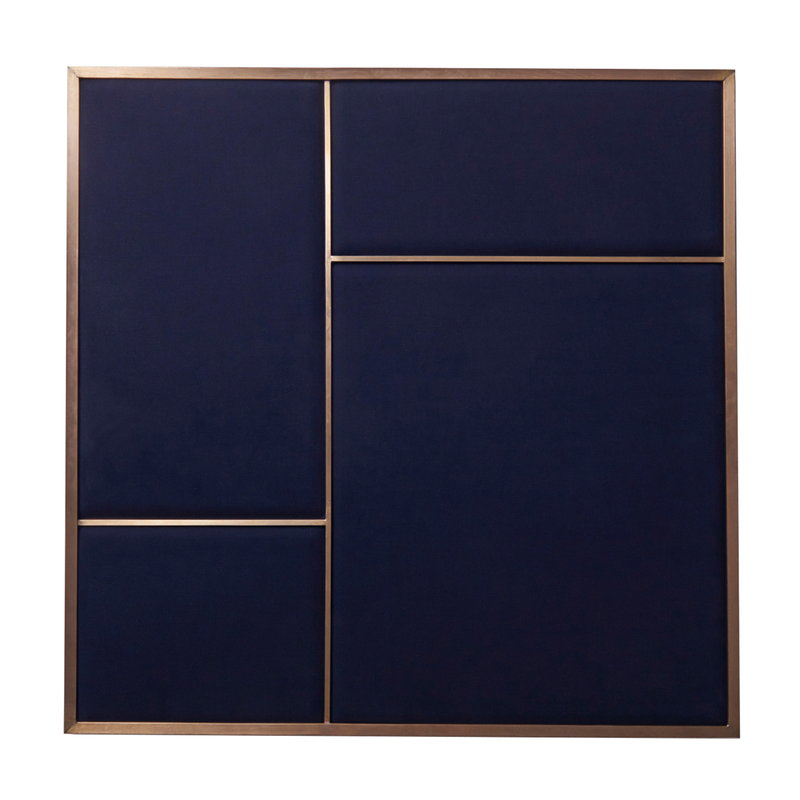 PLEASE WAIT to be SEATED Nouveau Pin board, medium, brass - blue