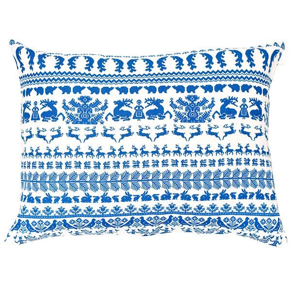 Saana ja Olli Yö metsässä sisustustyyny, iso, valkoinen-sininen