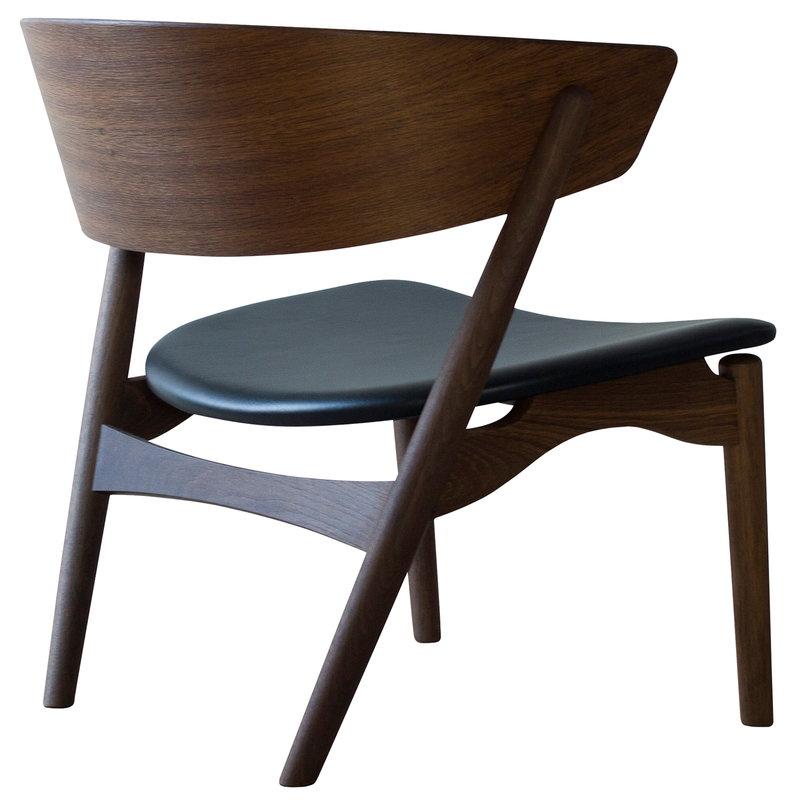 Sibast No 7 Lounge tuoli,  savustettu tammi - musta nahka
