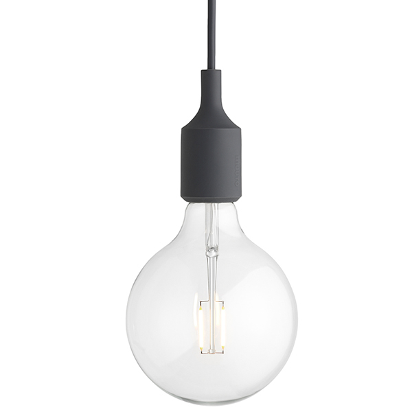 Muuto E27 LED pendant, dark grey, without canopy