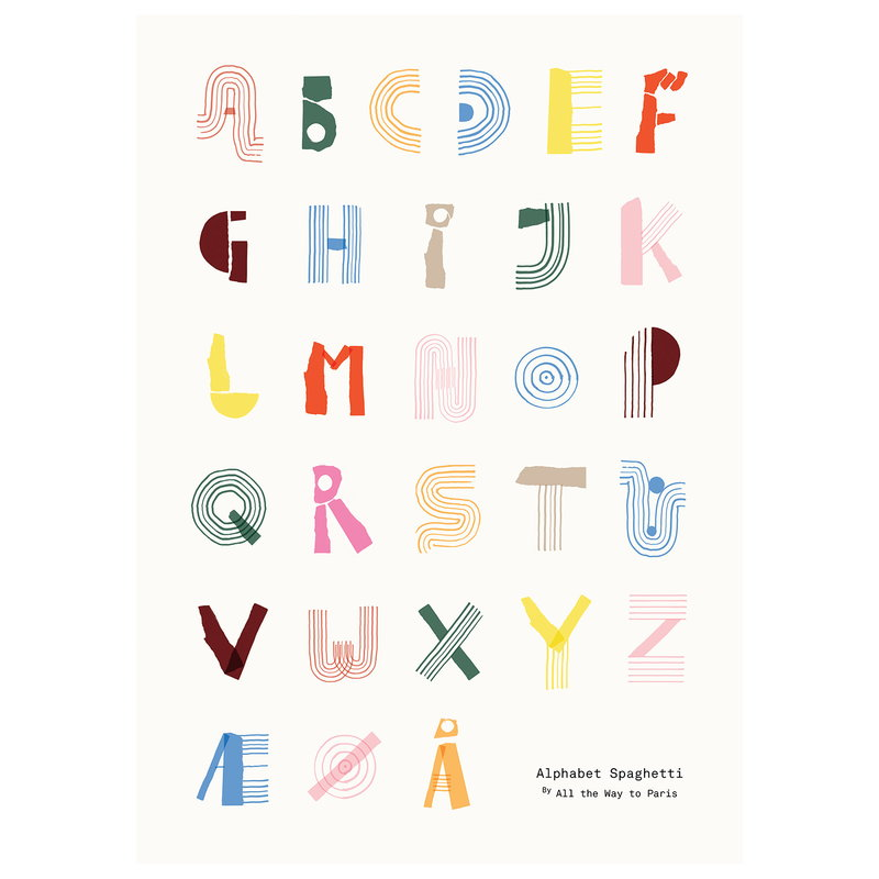 MADO Alphabet Spaghetti poster, 50 x 70 cm, multicolour