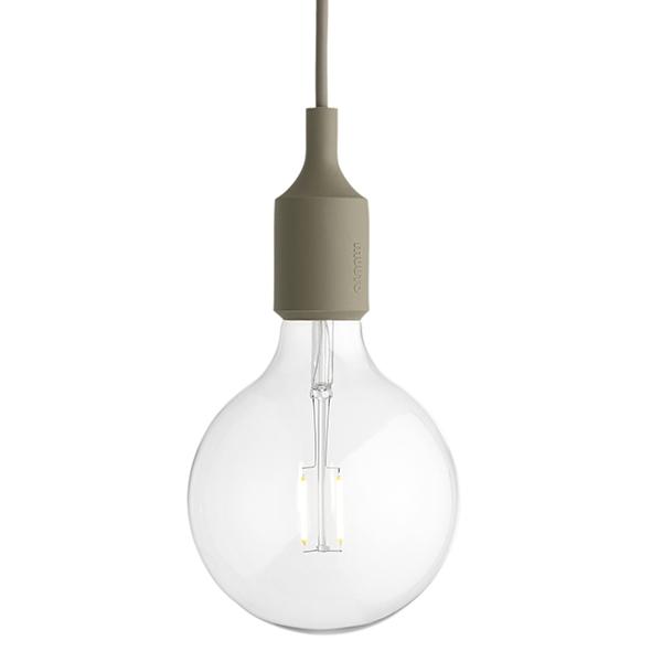 Muuto E27 LED socket lamp, olive, without canopy