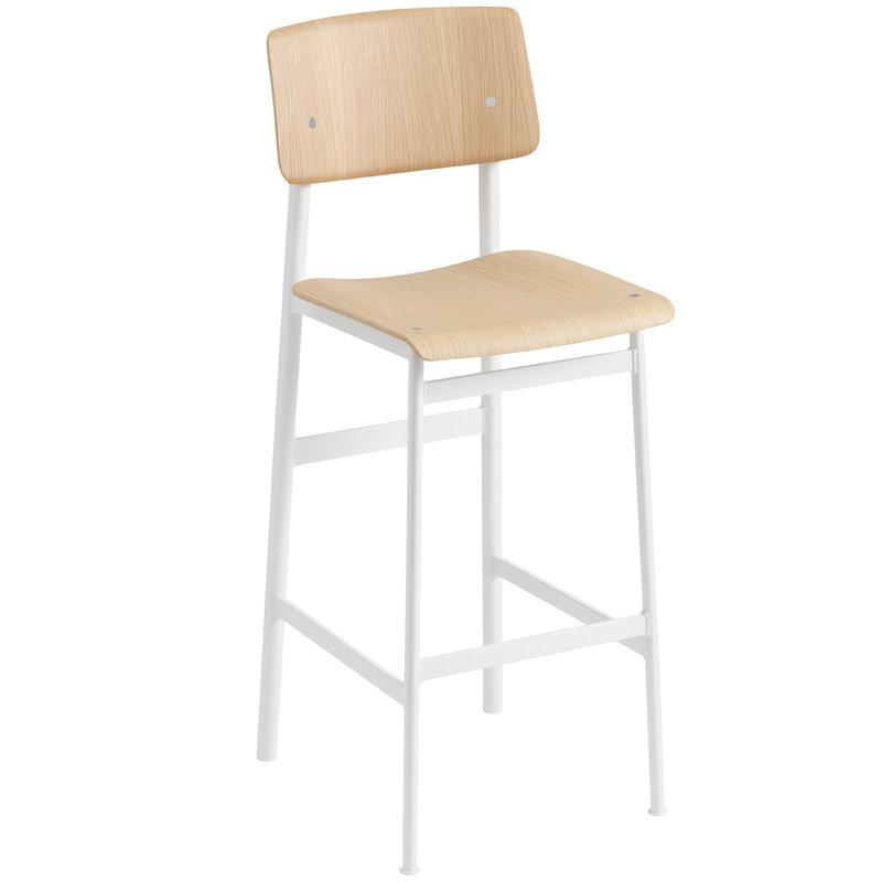 Muuto Loft bar stool 75 cm, white - oak