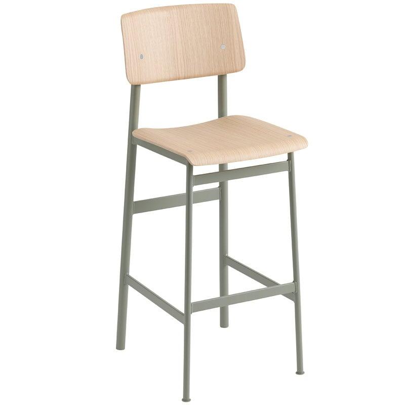 Muuto Loft bar stool 75 cm, dusty green - oak