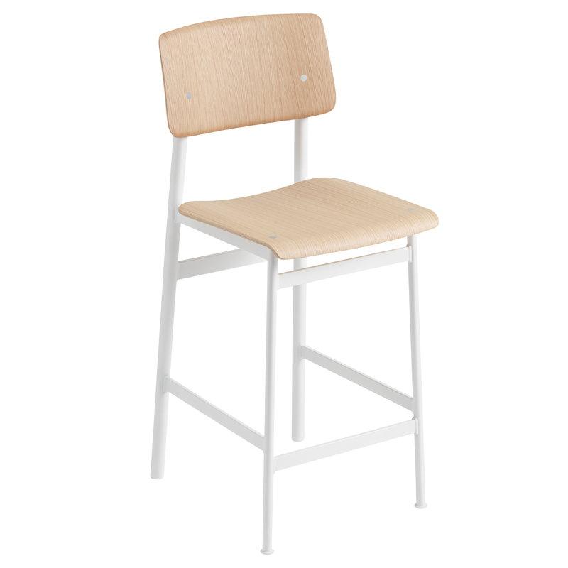 Muuto Loft bar stool 65 cm, white - oak