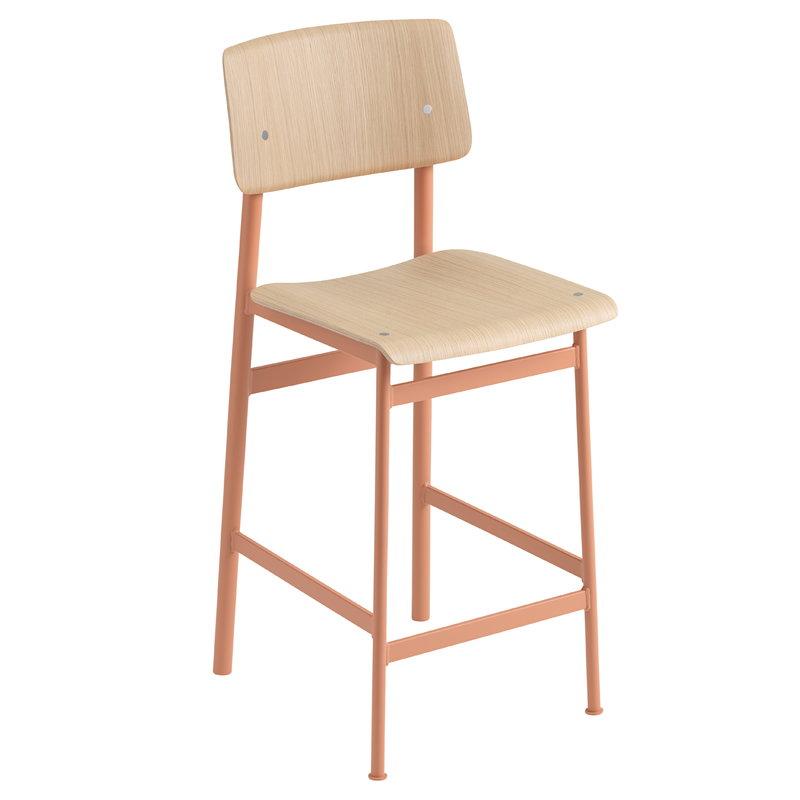 Muuto Loft bar stool 65 cm, dusty rose - oak