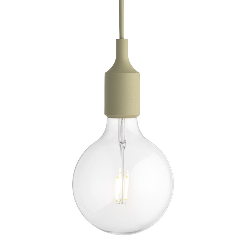 Muuto E27 LED socket lamp, beige green, without canopy