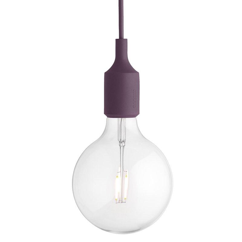 Muuto E27 LED socket lamp, burgundy, without canopy
