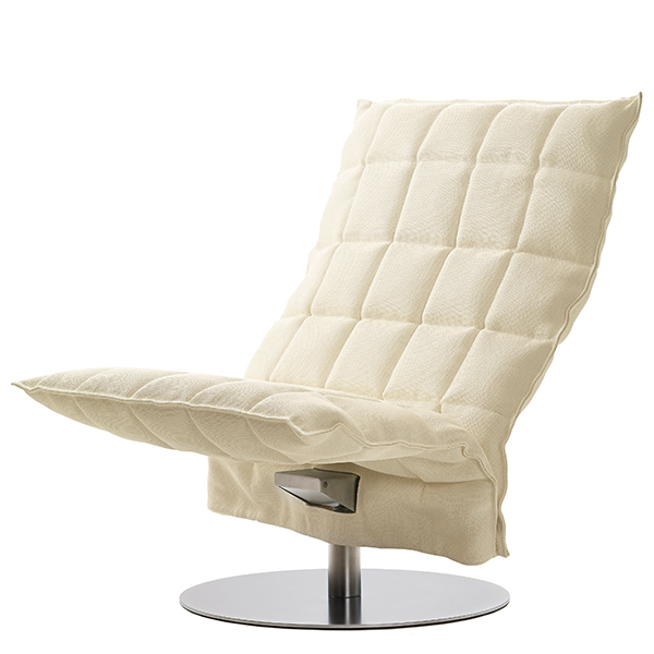 Woodnotes K chair, swivel base, wide, natural/white