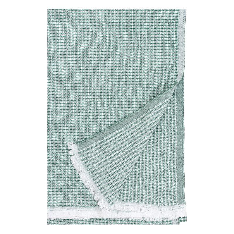 Lapuan Kankurit Maija torkkupeitto 130 x 200 cm, valkoinen - vihreä haapa