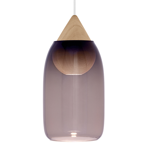 Mater Liuku Drop pendant, violet glass shade
