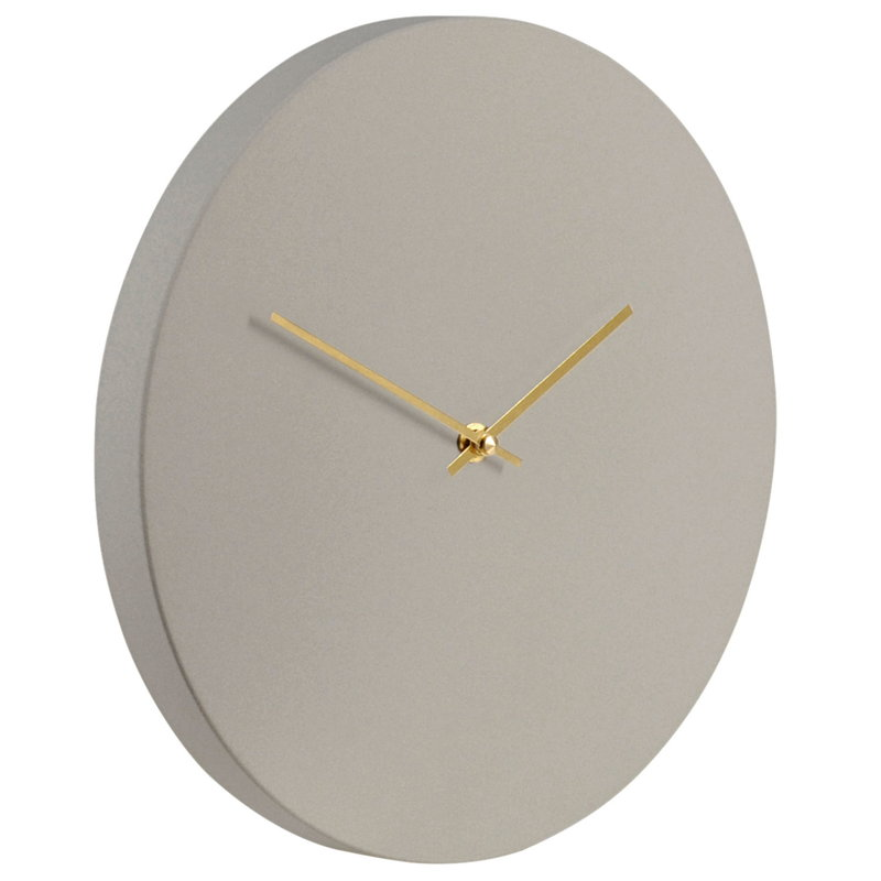 Muoto2 Kiekko Suede wall clock, light grey - gold
