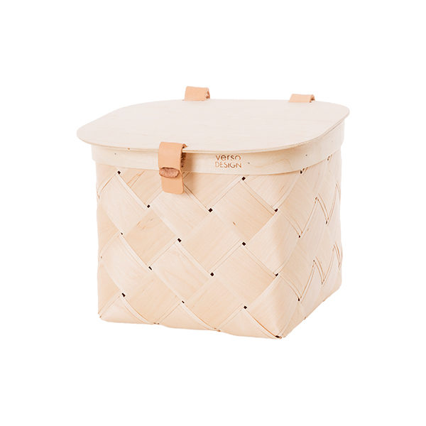 Verso Design Lastu birch basket with lid, S