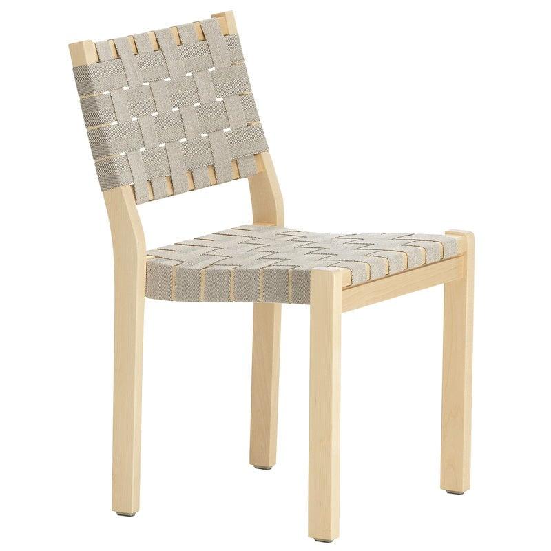 Artek Aalto chair 611, birch - natural/black webbing