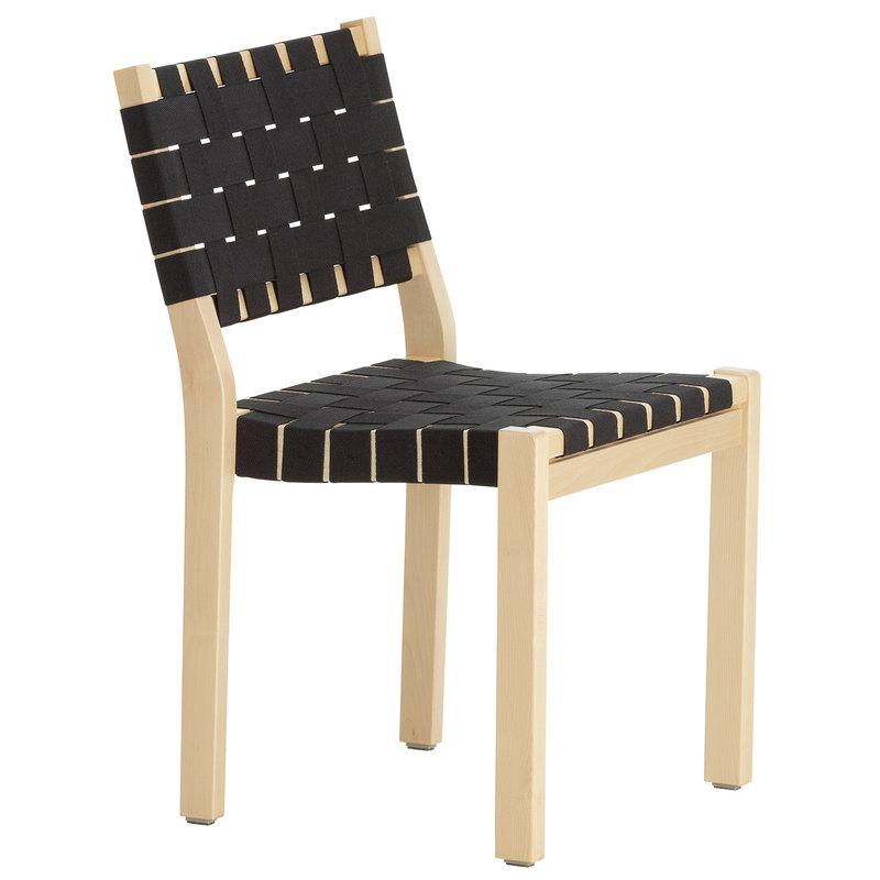 Artek Aalto tuoli 611, koivu - musta satulavyö