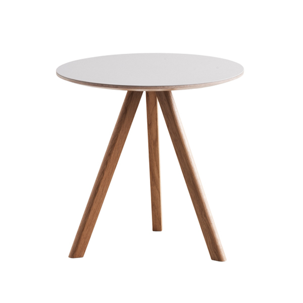 Hay CPH20 round table 50 cm, lacquered oak - grey lino