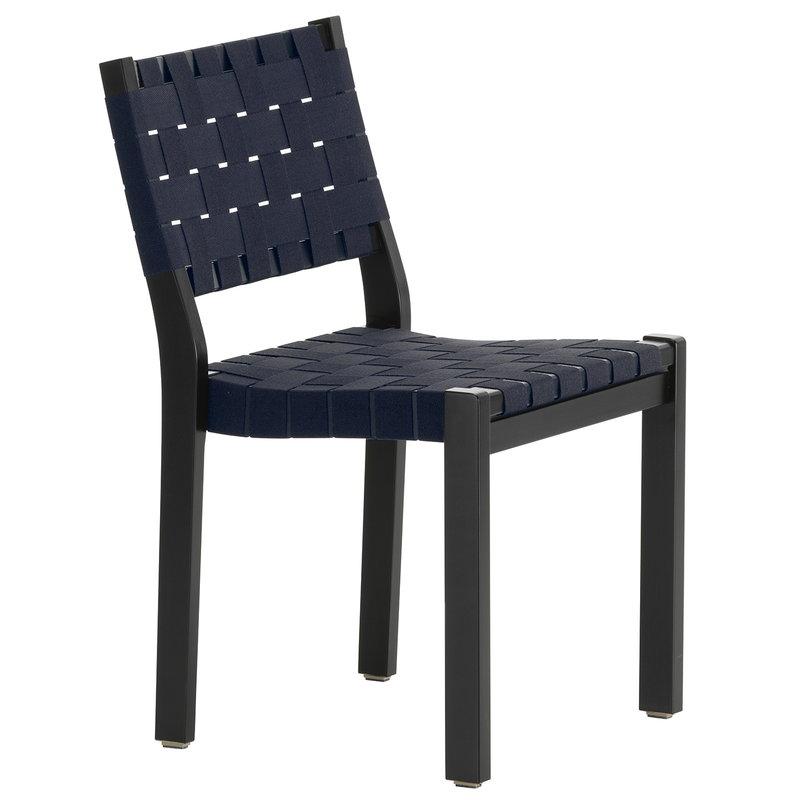 Artek Sedia 611, nera - fettuccia nero/blu